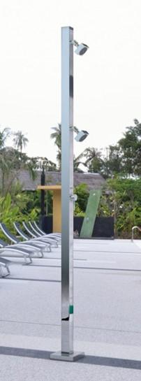 Doccia per piscina TECNO CUBE SQUARE in acciaio con miscelatore